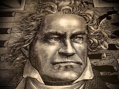 Ludwig van Beethoven Portrait pen and ink ink art engraving portraiture. engraving portrait illustration woodcut scratchboard steven noble