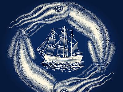 Calamar Ship Illustration inkart engraving illustrator woodcut scratchboard steven noble