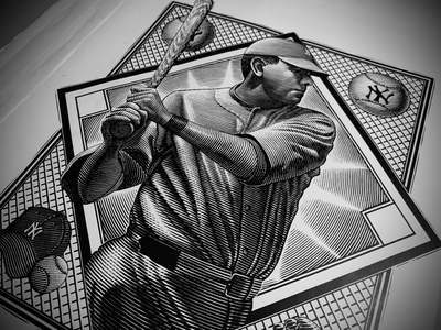 Babe Ruth Portrait Illustration portrait art illustration etching line art portrait woodcut scratchboard steven noble