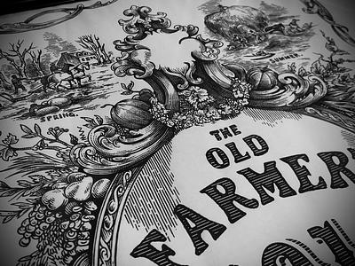 Old Farmers Almanac woodcut etching artwork illustration pen and ink line art scratchboard steven noble