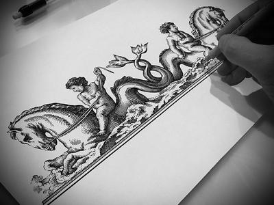 Ovid Label Illustration scratchboard etching ink art pen and ink line art woodcut illustration steven noble