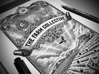 The Farm Collective vector branding pen and ink design woodcut artwork engraving etching scratchboard steven noble