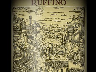 Ruffino Label Illustration scratchboard woodcut ink art illustrator linocut artwork penandink woodcuts woodcut etching line art steven noble