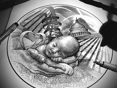 Children's National Medical Center logo graphic design branding woodcut illustrator logo artwork engraving illustration steven noble line art