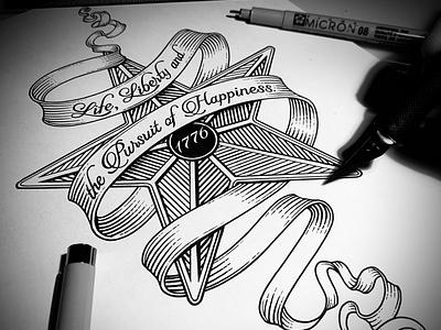 Samuel Adams Badge Illustration illustrator pen and ink graphic design woodcut linocut woodcuts illustration line art steven noble etching