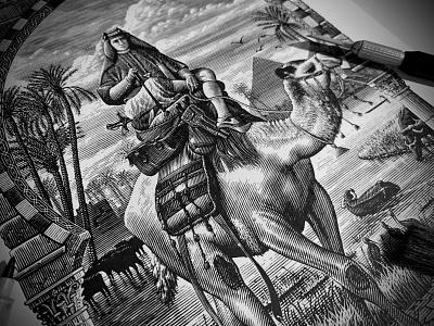 The Camel Rider Illustration woodcut etching branding illustrator artwork engraving linocut design scratchboard steven noble