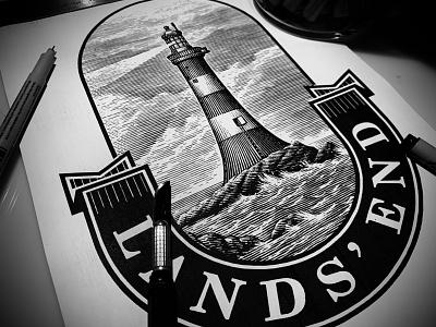 Land's End Logo by Steven Noble scratchboard woodcut ink art pen and ink logo woodcut artwork engraving etching line art steven noble