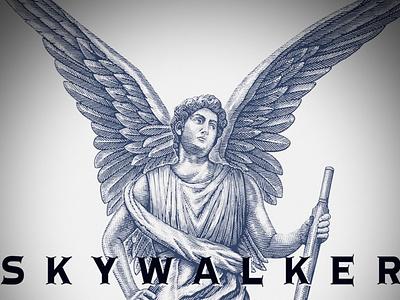 Skywalker Vineyards linocut logo branding pen and ink woodcut artwork engraving illustration skywalker vineyards scratchboard steven noble