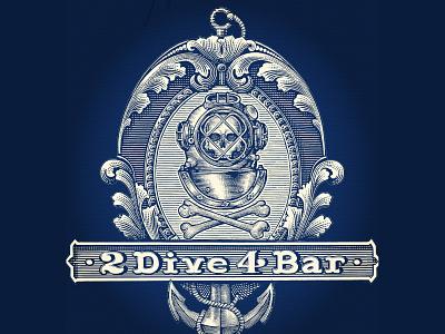 2 Dive Bar Logo logo ink art pen and ink linocut woodcut woodcuts engraving illustration line art steven noble