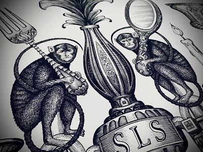 SLS Hotel Logo pen and ink linocut woodcuts woodcut illustrator engraving etching design artwork steven noble