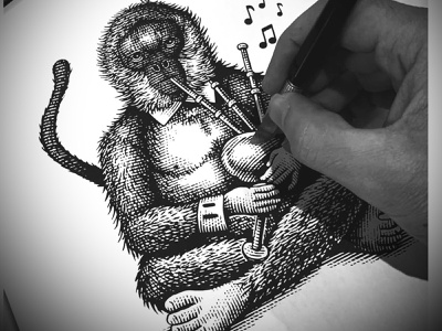 The Piper Monkey line art woodcuts scratchboard illustrator artwork engraving etching branding design steven noble
