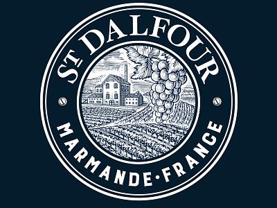 St Dalfour logo ink art line art woodcut logo branding illustrator artwork engraving scratchboard steven noble