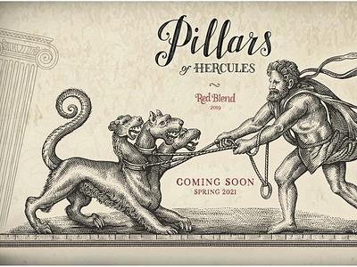 Pillars of Hercules artwork logo pen and ink engraving branding illustrator woodcut linocut line art steven noble