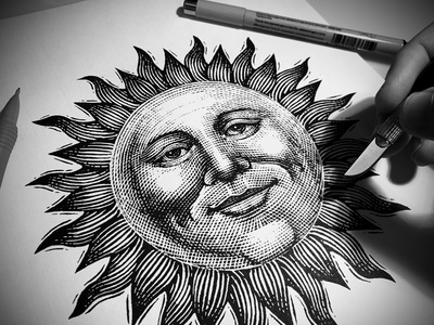 Sun Icon Illustration artwork linocut woodcut branding design etching engraving steven noble woodcuts scratchboard