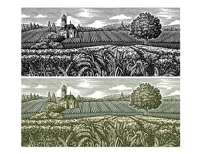 Schneider's Landbier Illustrated Label by Steven Noble design logo etching artwork engraving illustration scratchboard line art steven noble