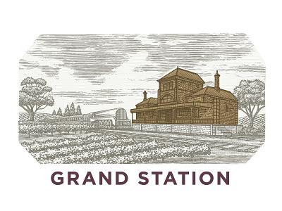 Grand Station pen and ink ink woodcut design logo engraving artwork illustration etching scratchboard line art steven noble
