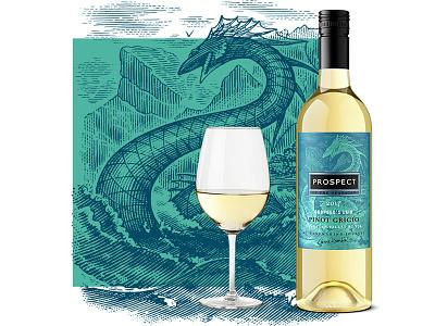 Prospect Wines line art etching branding illustrator illustration logo engraving woodcuts design steven noble