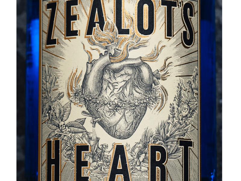 Zealot's Heart Label Illustrated by Steven Noble
