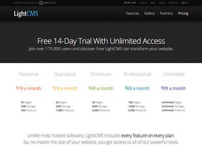 LightCMS Pricing Table pricing website