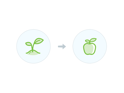 Sprout & Apple Icons icon apple plant sprout