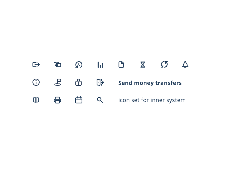 Icon set for inner system system app money send bold icons