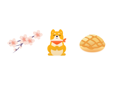 Japanese stickers: Sakura, Shiba and Melon pan