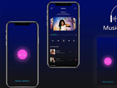 Music Jackson mobile theme dark sound player logo app music jackson michael