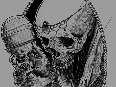 Queen of Cups dan-que-schone czech republic brno skull a day dotwork illustration design skulltattoo blackworkers darkart tarot skull tattoo illustration