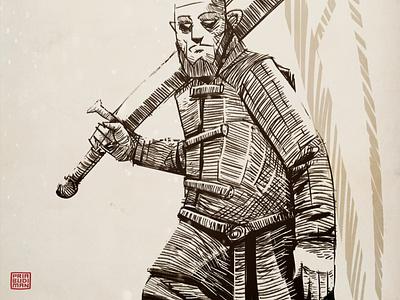 The Knight inktober inkin crosshatching drawing stylized illustration