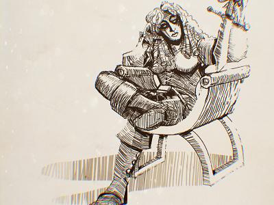The Peacekeeper comic art inking crosshatch sketch illustration
