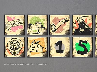 Last Farewell .  Achievement Icons branding logo ui concept art game art illustration gamedev stylized gameart cartoon