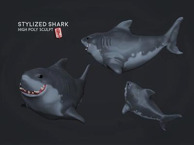 Priabudiman Shark Sculpt concept art game art design character cartoon sculpt zbrush