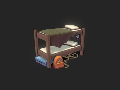 Props - Stylized Bunk Bed cartoon handpainted lowpoly stylized 3dmodel gameart gamedev