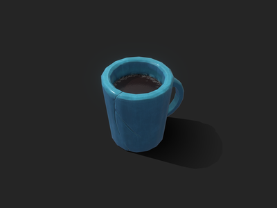 Props - Big Blue Cup texture 3dmodel hand painted stylized gamedev cartoon lowpoly gameart