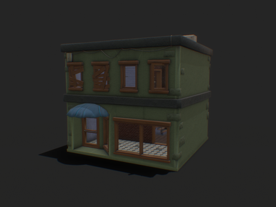 Commercial Building 02 concept art texture low poly hand painted 3dmodel gamedev stylized lowpoly cartoon gameart