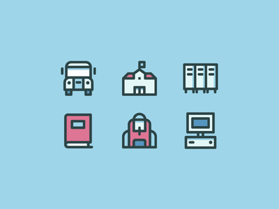 Back to school for Flaticon flat color line icon learning learn computer backpack book bus pack school