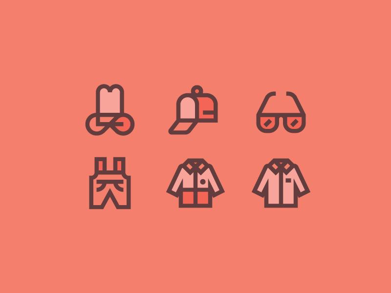 Clothes for Flaticon part II line pack icon fashion wear work uniform shirt glasses cap clothes hat