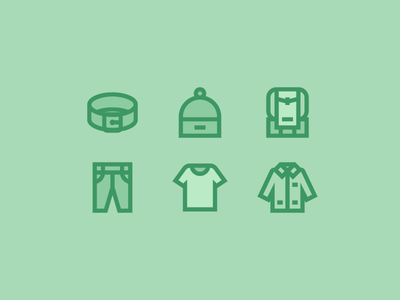 Clothes for Flaticon part III flaticon pack icon line backpack jacket coat shirt jeans trousers beanie belt