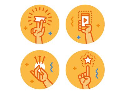 Hands smartphone share ticket winner prize invite hand fingers finger icon illustration