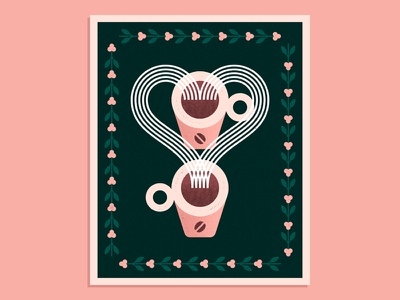 Coffee & Love vector texture sugar mug hot cream cup bean heart pot love coffee