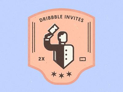 (x2 Dribbble invite) CLOSED halftone texture dribbble invite invitation badge ticket join