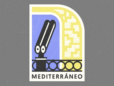 Mediterranean mediterranean europe italy spain beach texture sticker badge tourism sea