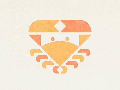 Crab logo symbol trademark icon simple brand mark stamp texture seafood sea