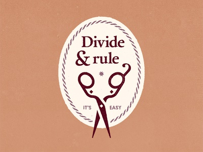 Divide and rule texture rule divide sewing scissors badge