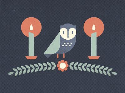 Owl owl bird candle dark darkness flower geometry texture halftone light guide