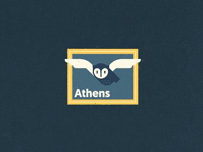 Athens texture halftone icon greece flag barge seal bird owl athens greek