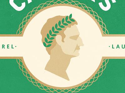 Caesar texture profile face vintage coin leaves laurel caesar