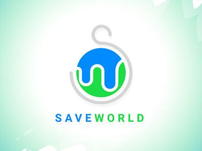 Save World graphic design world water nature save green blue logo