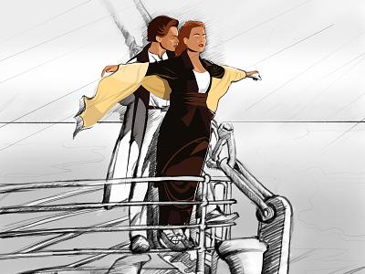 Jack and Rose graphicdesign adobe illustrator illustration sketch boat titanic
