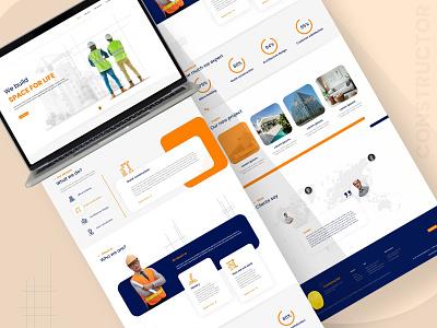 Construction Website adobe xd minimalism uiux website orange blue construction civil